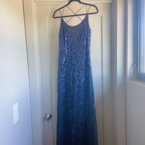 Wtoo Bridesmaids Blue Sequin Dress